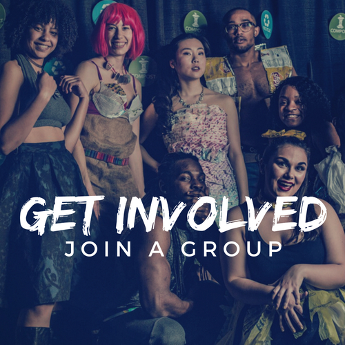 Get Involved: Join a Group Photo of students at a green themed party