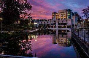 AOK Library and pond at sunset