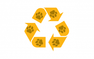 Recycling symbol with paw prints to designate plastic film recycling