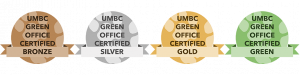 Green Office Badges showing the different levels of bronze, silver, gold, and the best green