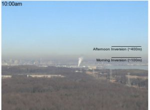 Air pollution hangs over downtown Baltimore in this photo from early January 2016.22A winter weather condition, known as an inversion, can trap pollution from cars, industrial activity and other combustion sources close to the ground. The markings on the image show how the pollution lifted during the day as the air warmed up. Credit: Maryland Department of the Environment